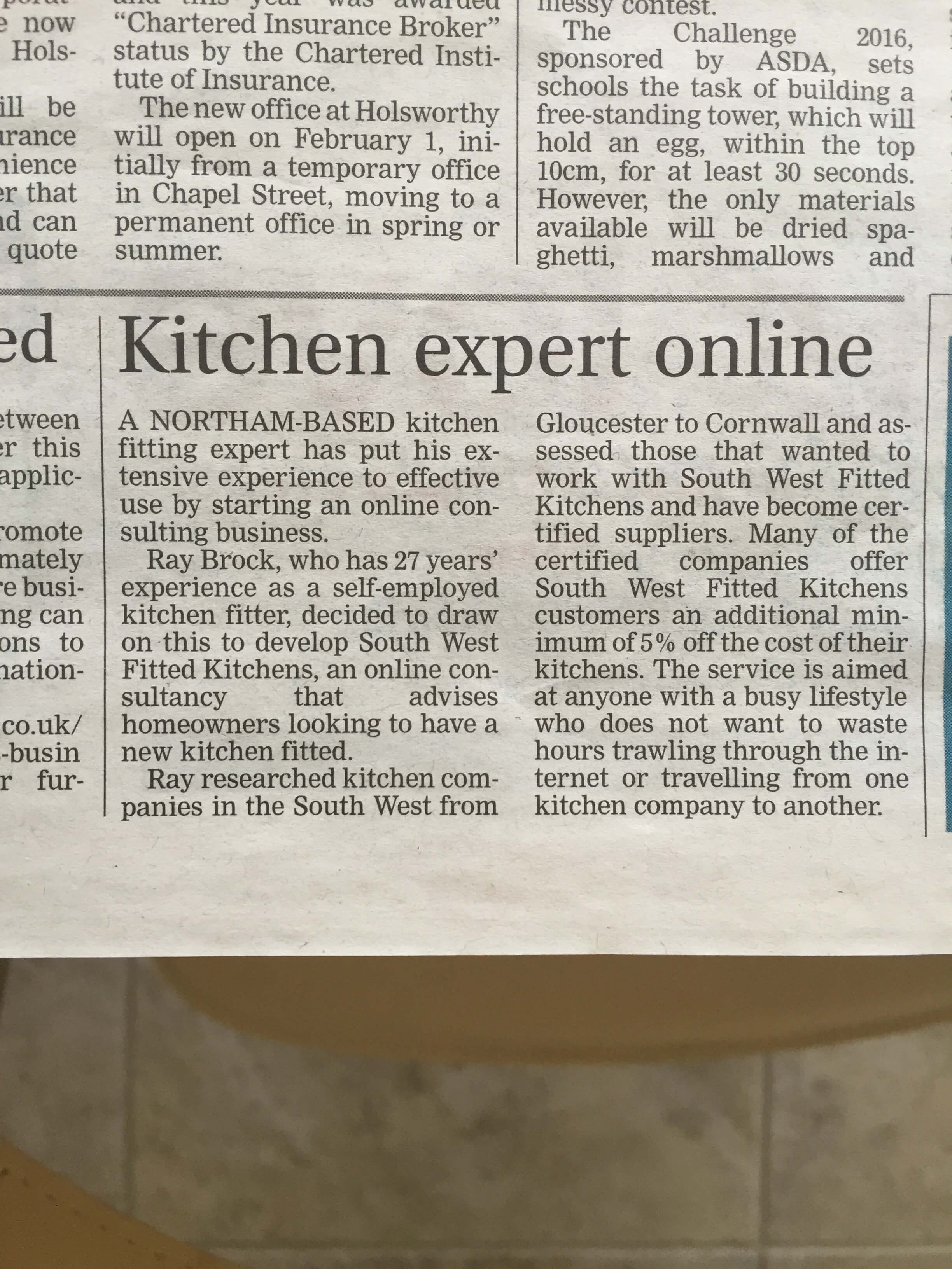 North Devon Journal Article on South West Fitted Kitchens