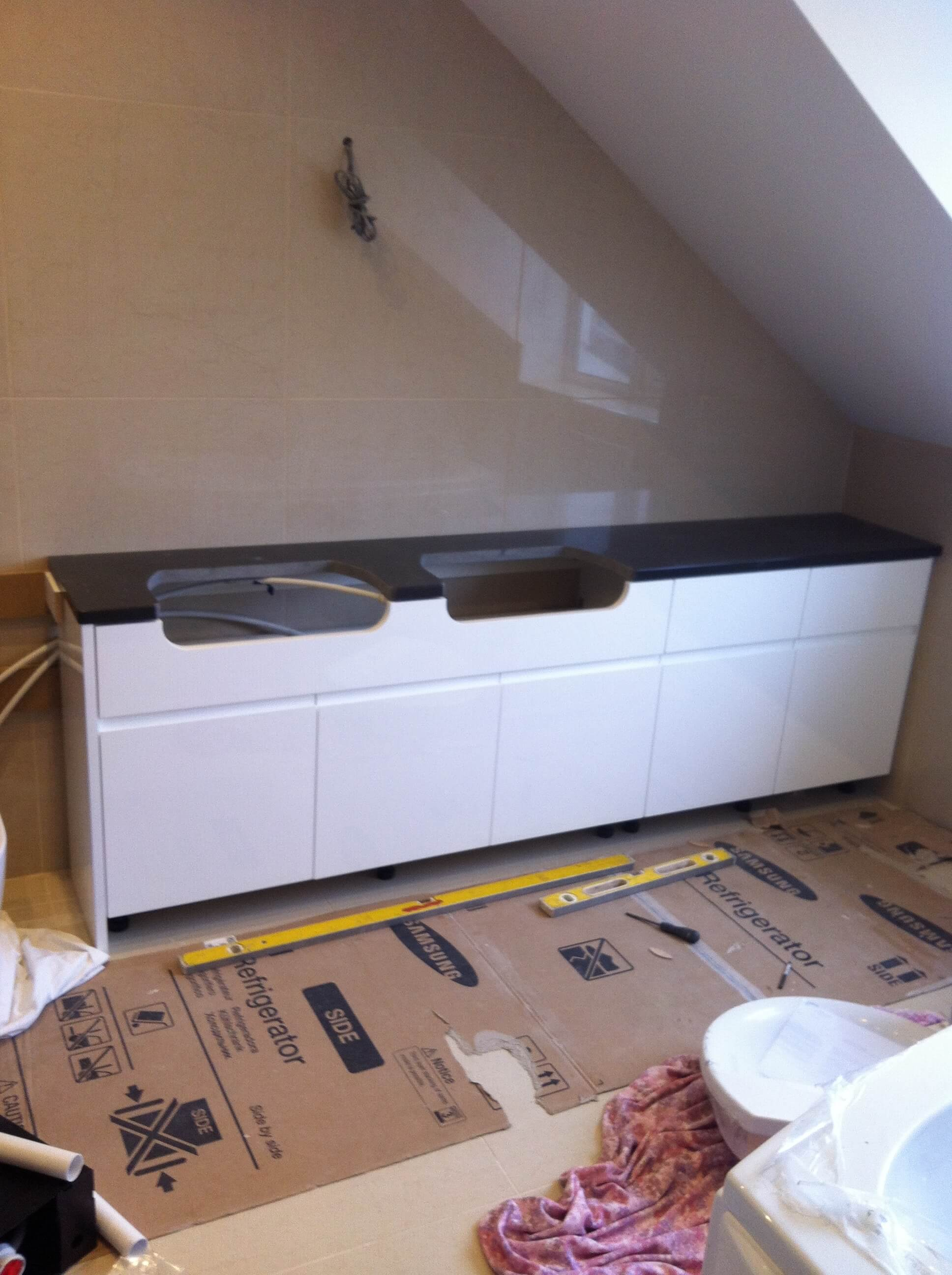 Worktop, doors and drawer fronts fitted in the en-suite