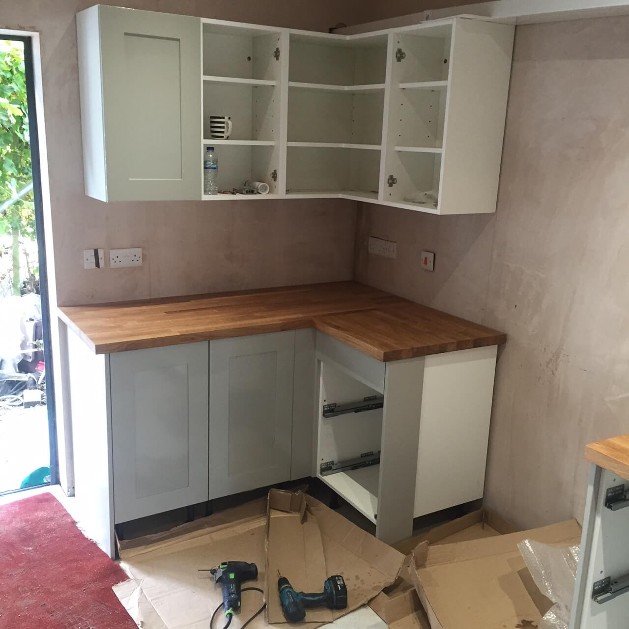 Worktops fitted in the corner