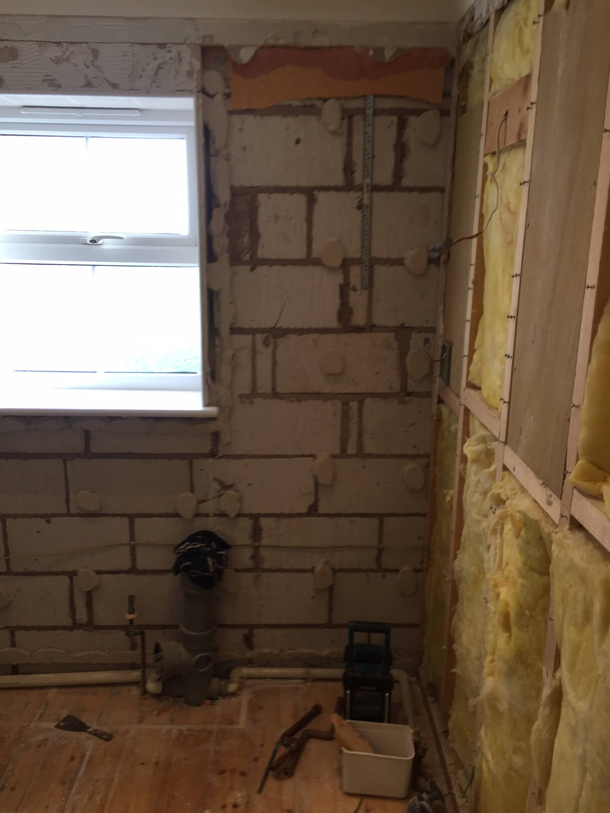 Stripped off block wall