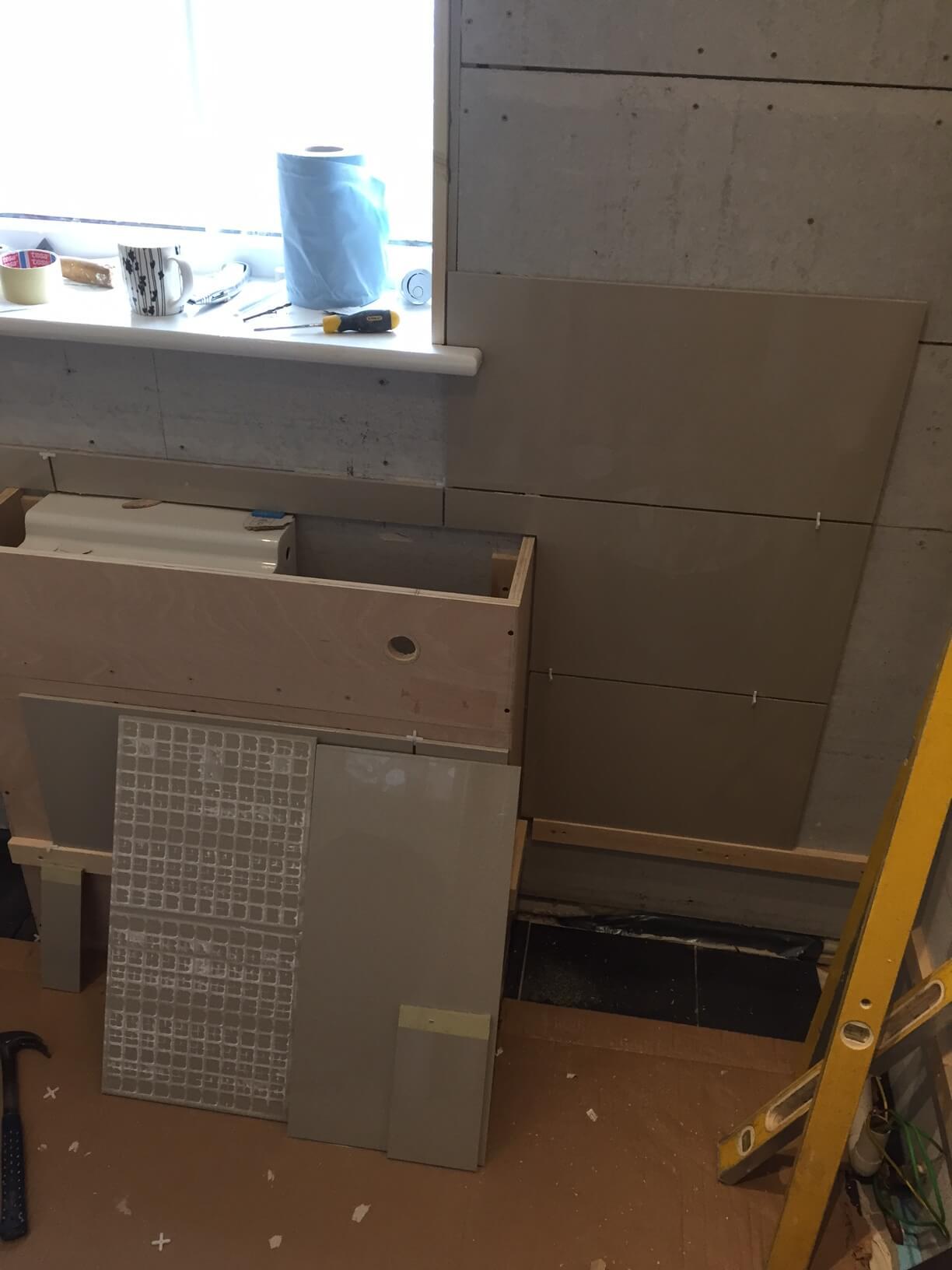 Tiles around Cistern Boxing