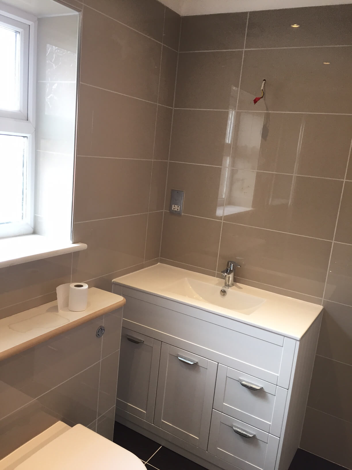 Vanity unit installed and plumbed in