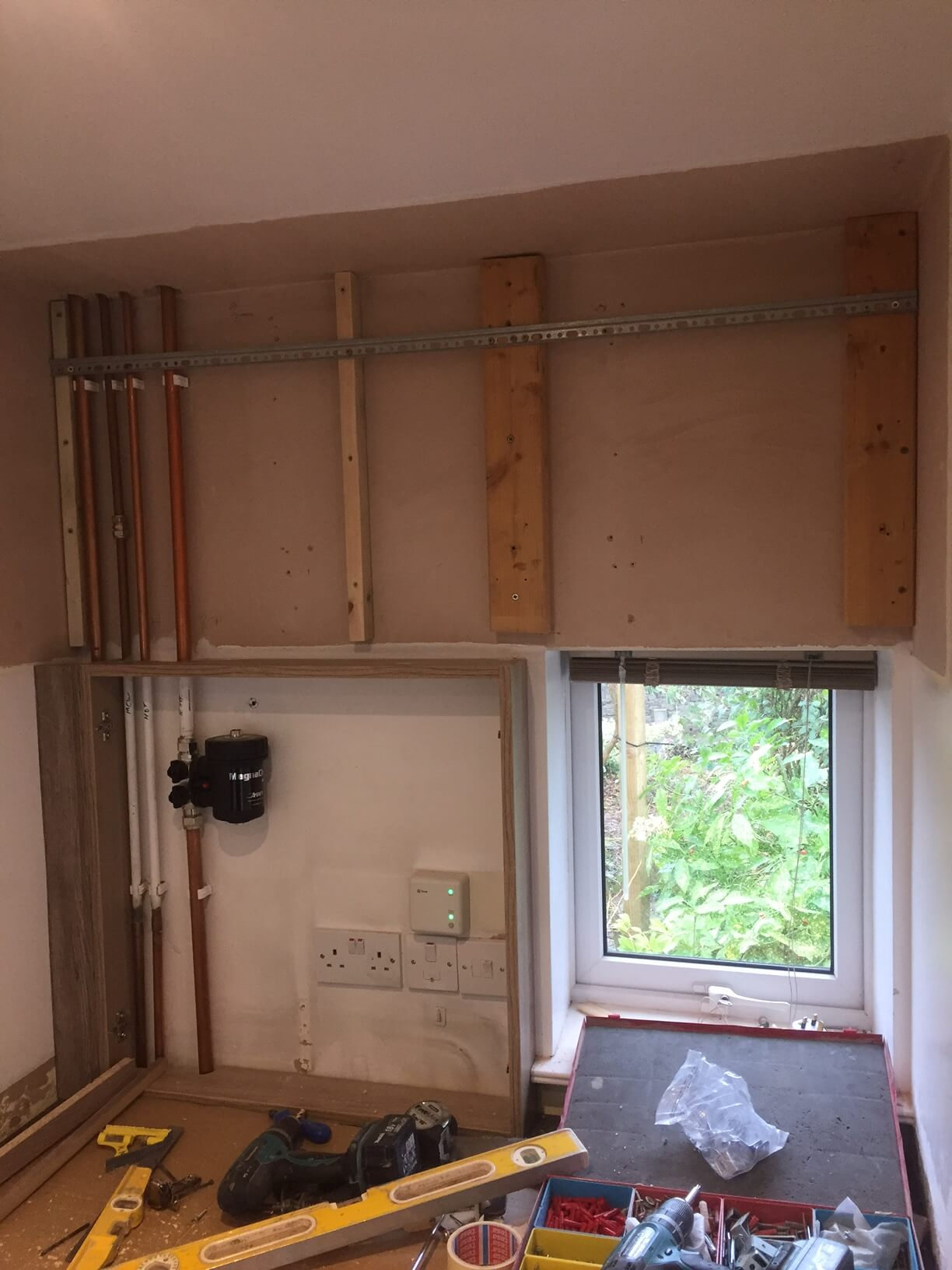 Preparation for wall units In the Utility