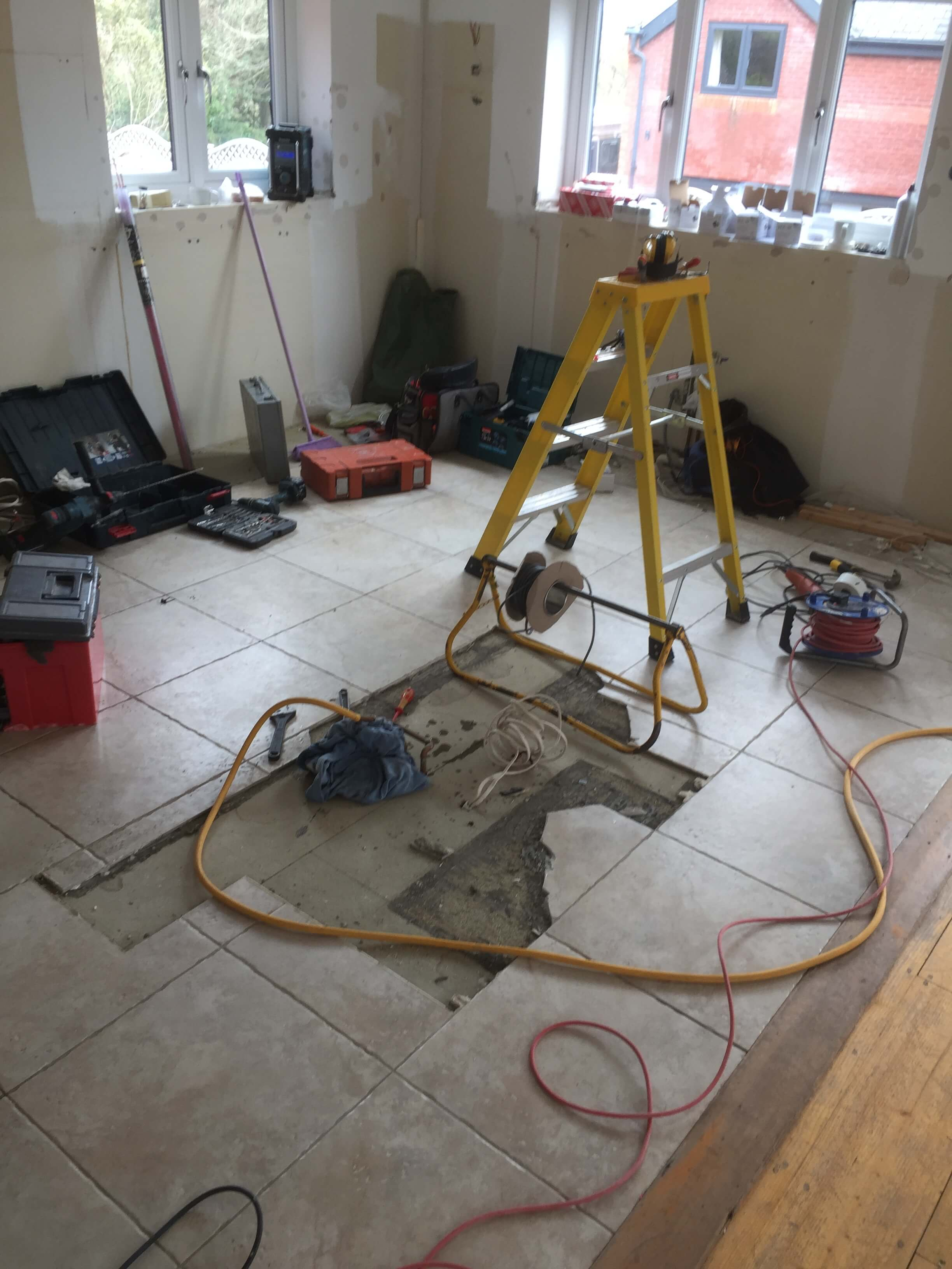 Tiles being removed