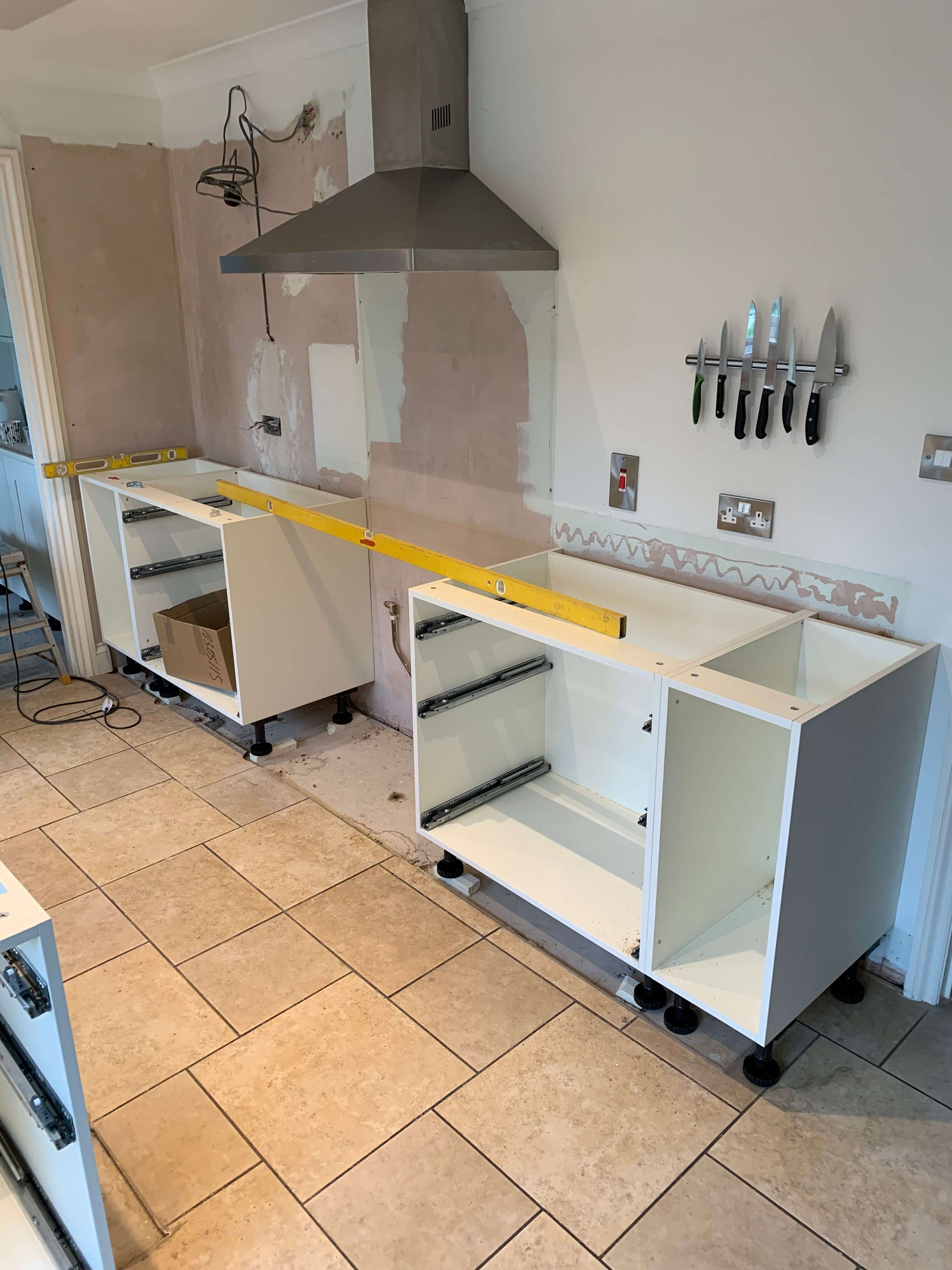 Kitchen units starting to go in