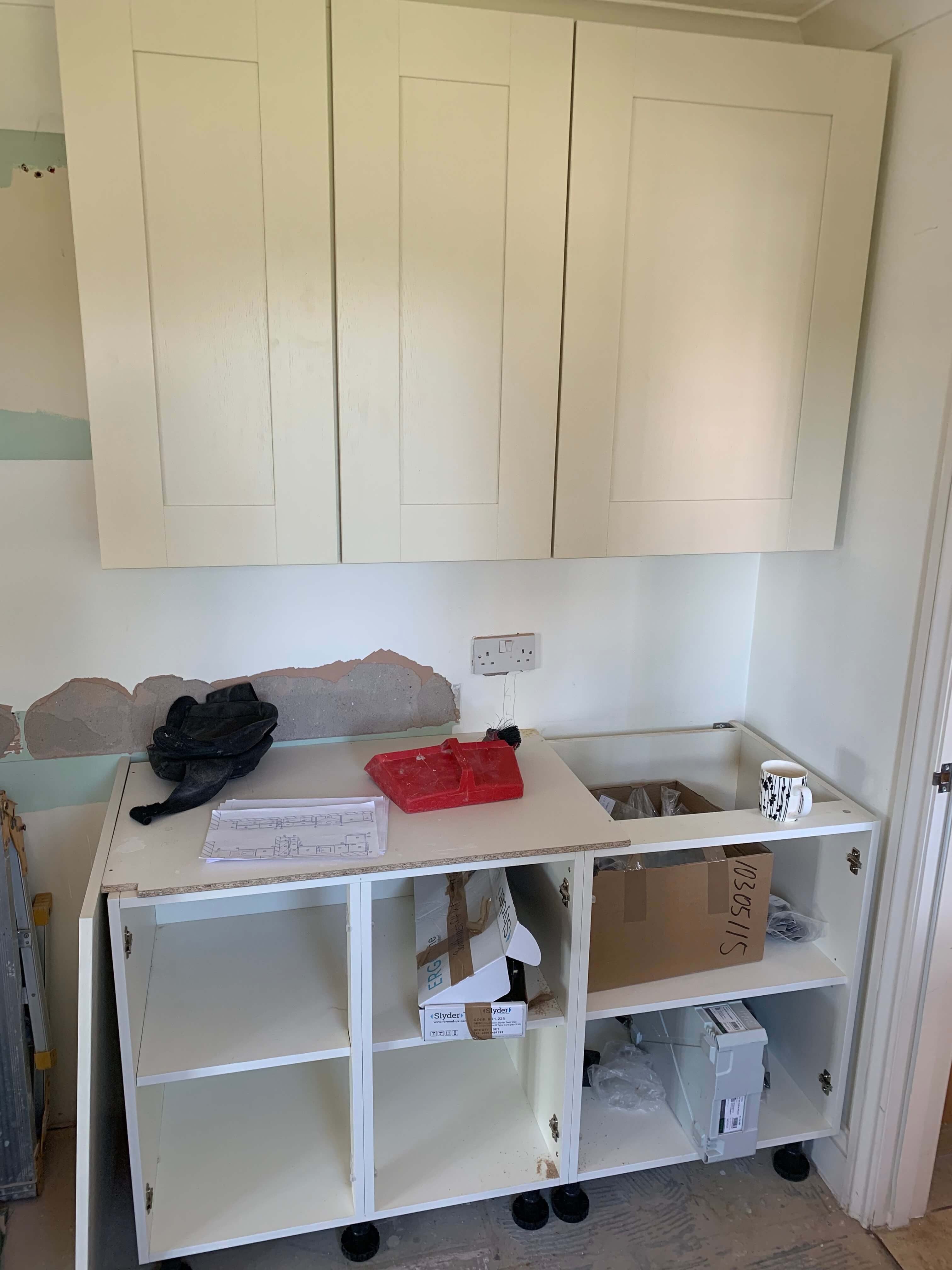 Wall units are fitted in the utility