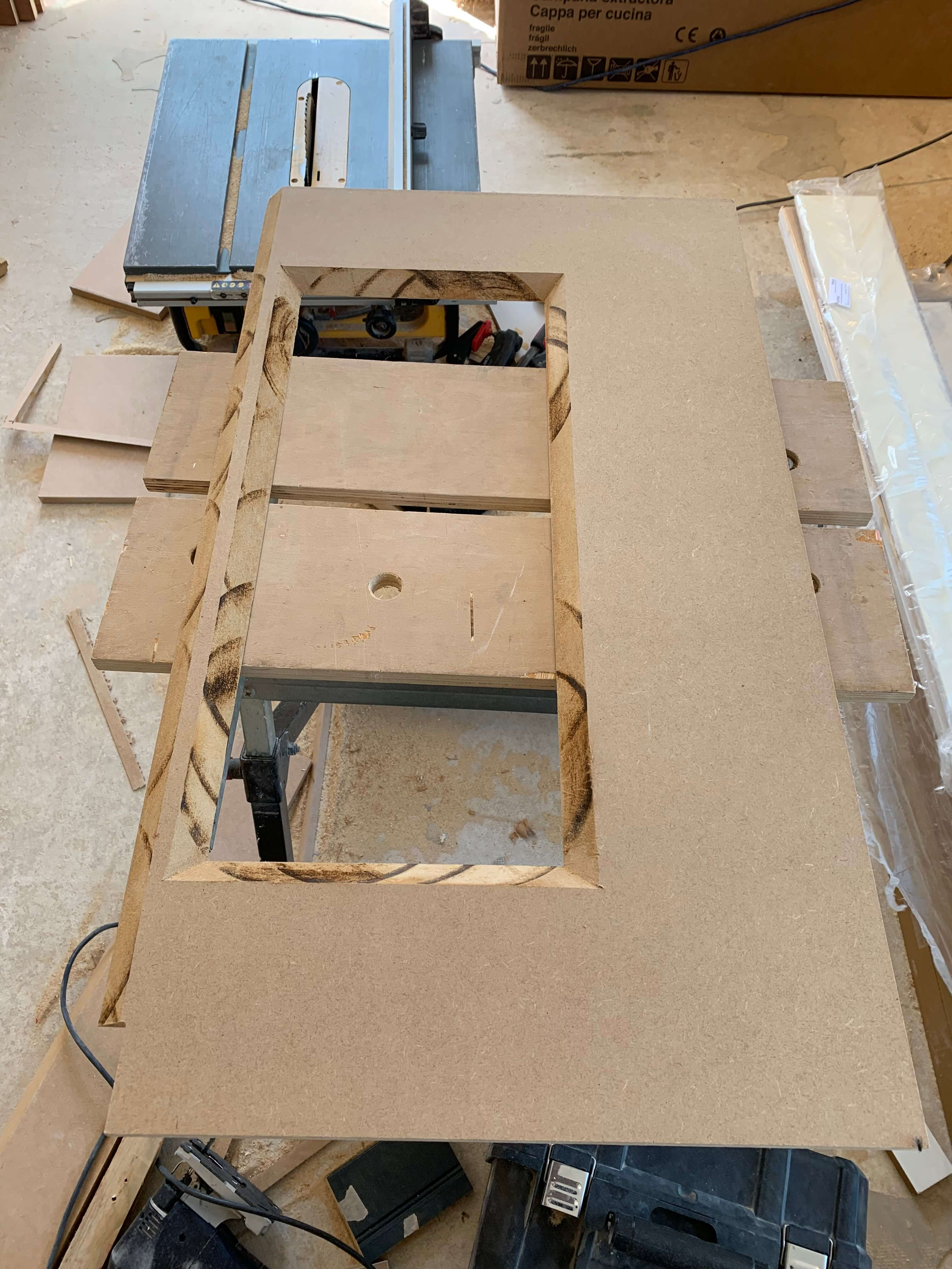 Mitred cut out for niche