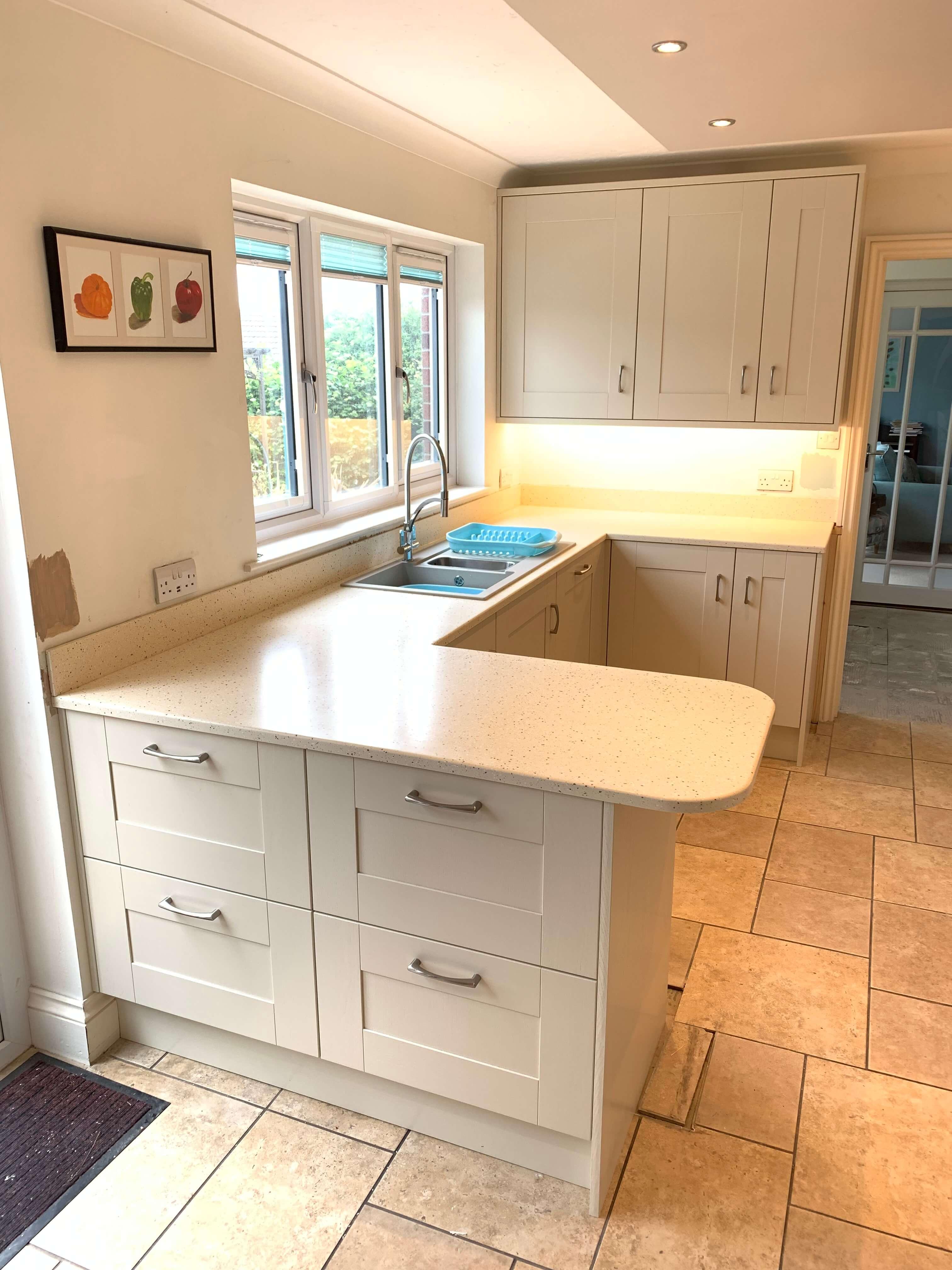 Finished Kitchen showing peninsular