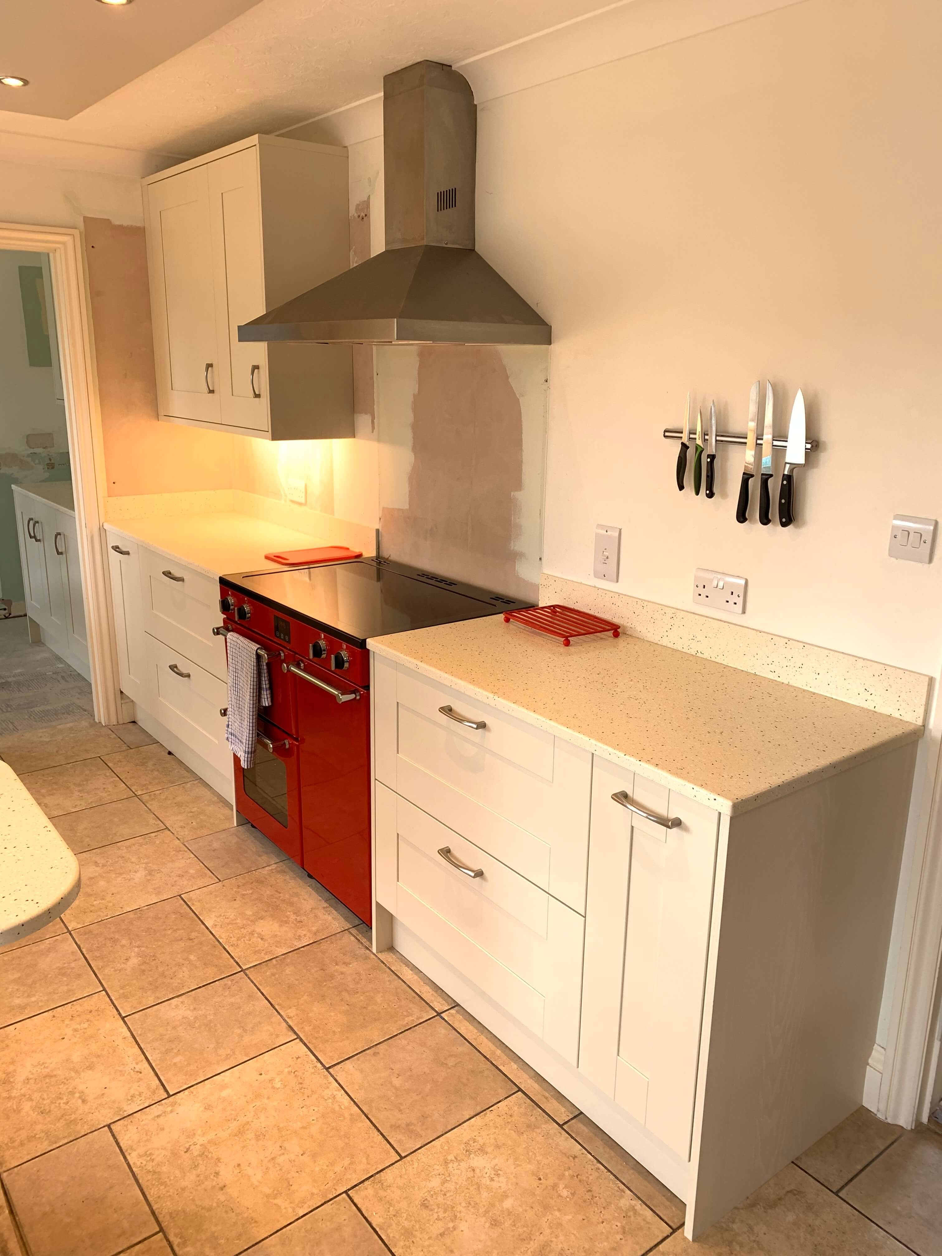 Finished Kitchen showing cooker