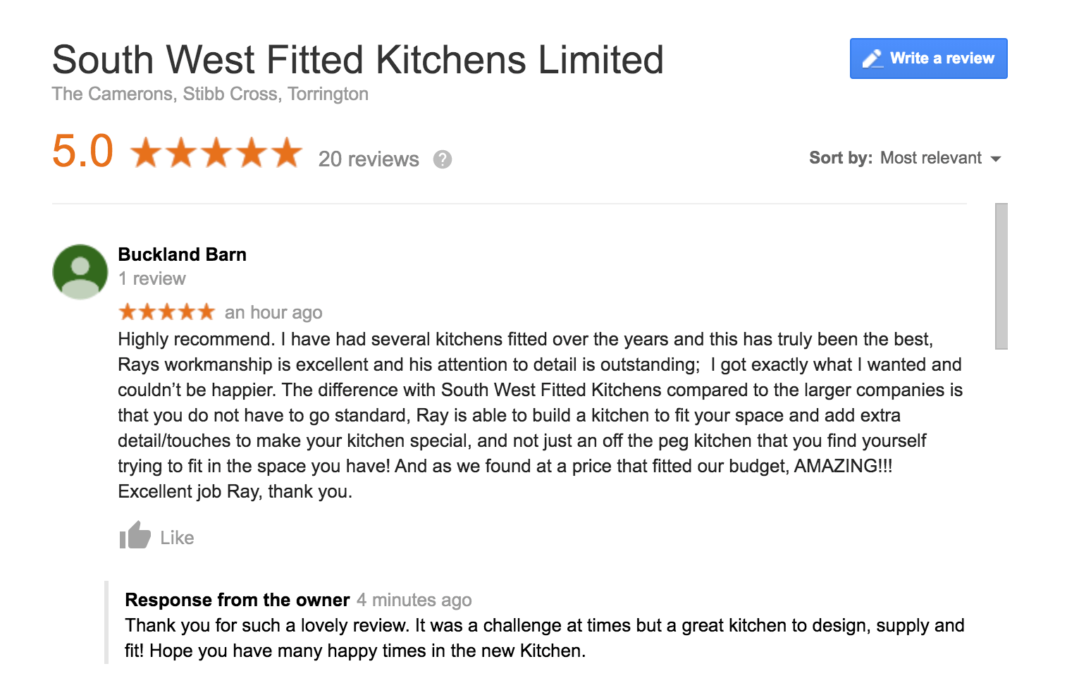 Cathy & Dale Google Review