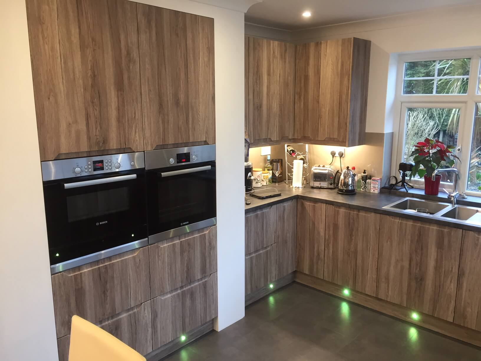 Handless Kitchen With Acrylic Splash Back And Lights Fitted for Mr & Mrs S of Dolton
