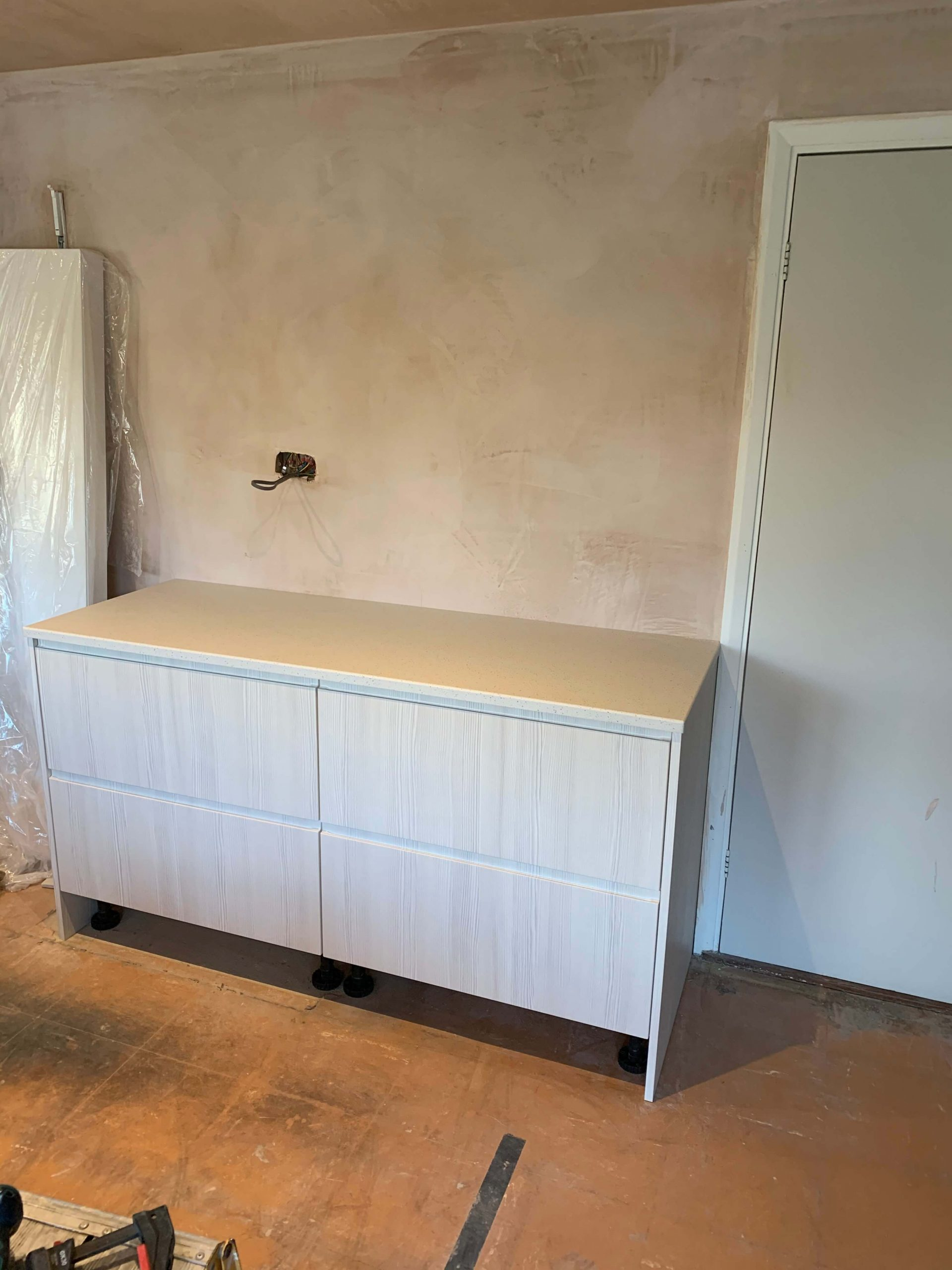 Dresser base with worktop fitted