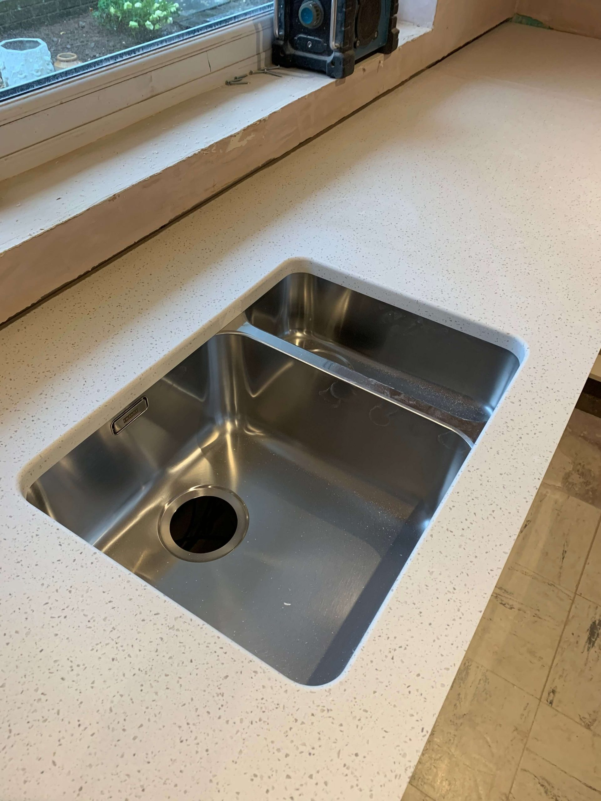 Sink cut out machined and sanded