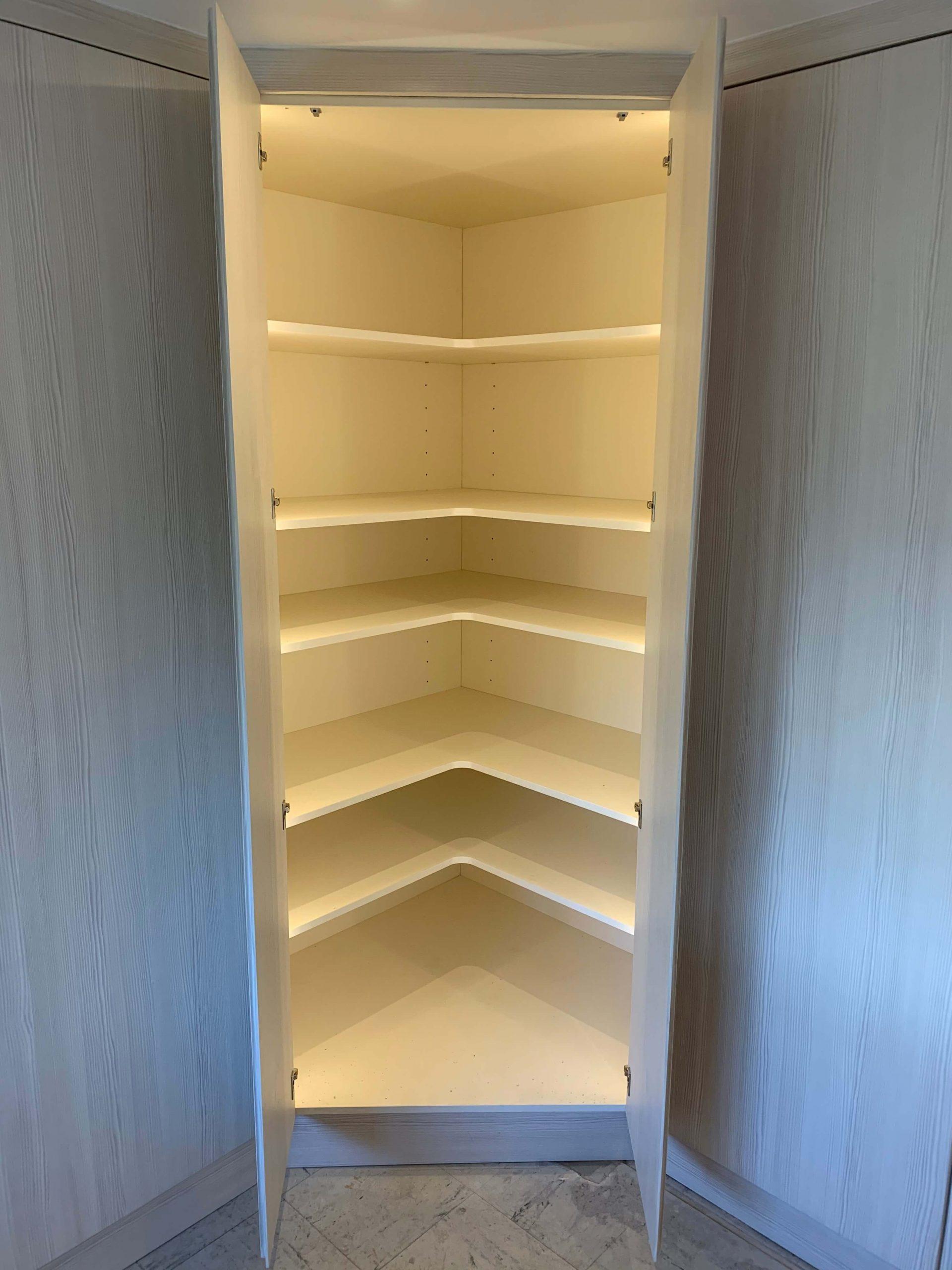 Inside the lit corner larder unit